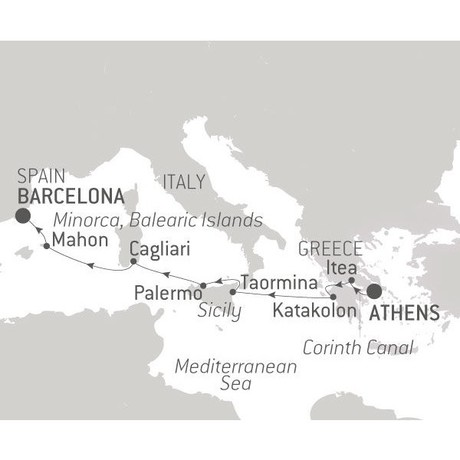 Map for Island Jewels of the Mediterranean
