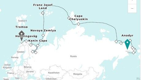 Map for The Northeast Passage Luxury Expedition Cruise From Anadyr to Tromsø