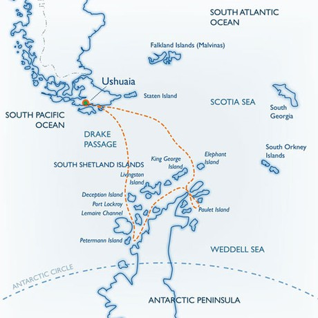 Map for Classic Antarctica 2020-2021 (Ushuaia)