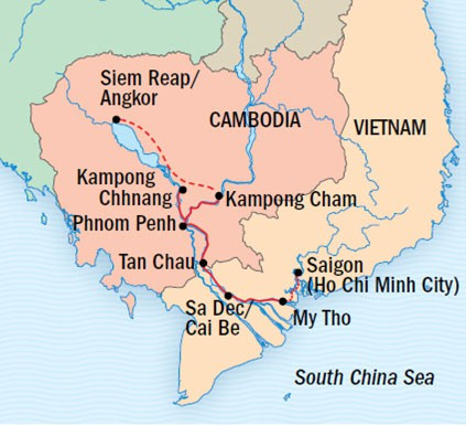 Map for Vietnam and Cambodia: Along the Mekong River