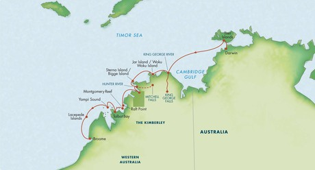 Map for Australia's Kimberley: A Voyage to the Outback 2020