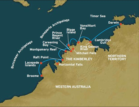 Map for The Kimberley: Darwin to Broome (Coral Adventurer)