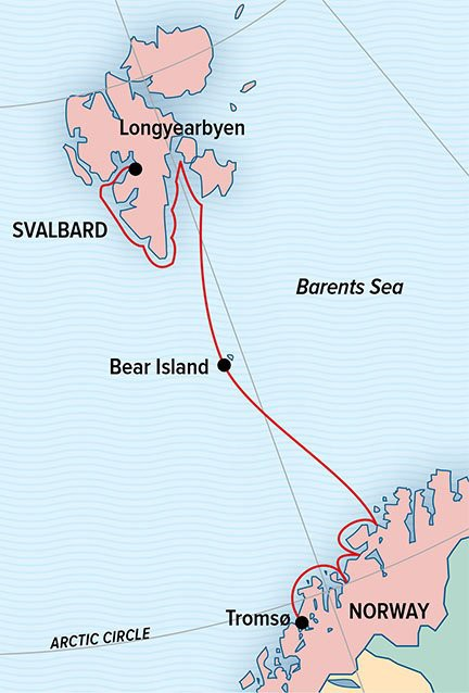 Map for Norwegian Discovery: Svalbard and the Northern Fjords