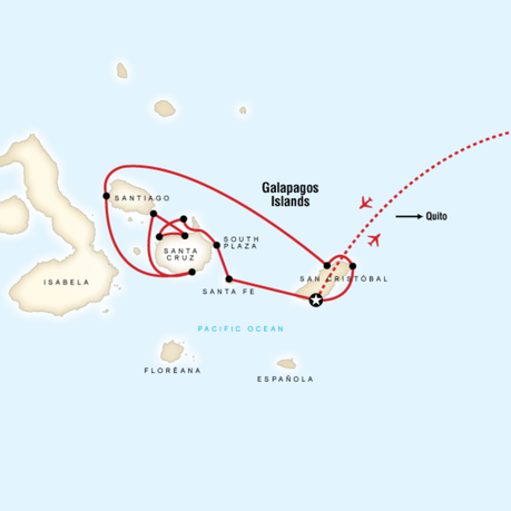 Map for Galápagos — Central & East Islands