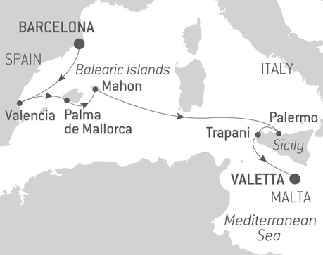 Map for Jewels of the Mediterranean with Ponant