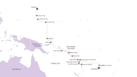 Map for Micronesia and Melanesia aboard New Boutique Expedition Ship
