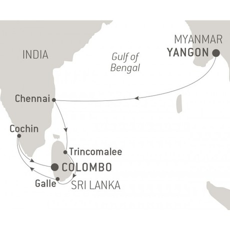 Map for Myanmar, India & Sri Lanka (Le Laperouse)