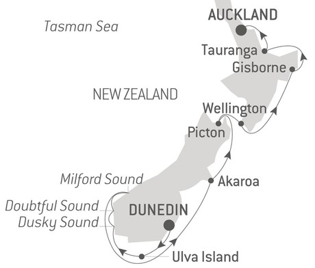 Map for Natural Treasures of New Zealand with Ponant