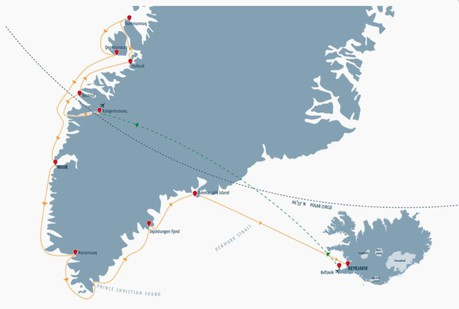 Map for Natural Wonders of Greenland and Iceland Cruise