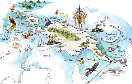 Map for New Guinea Circumnavigation - 36 Days (Coral Adventurer)