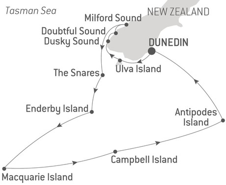 Map for Cruise New Zealand's Subantarctic Islands Expedition