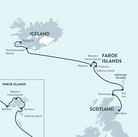 Map for North Atlantic Saga: Scotland, The Faroe Islands, & Iceland