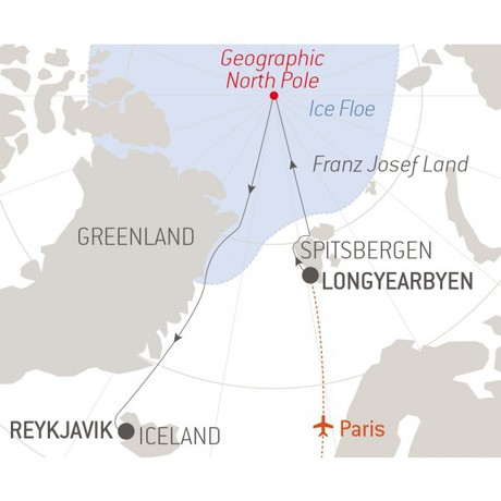 Map for The Geographic North Pole (Le Commandant-Charcot)