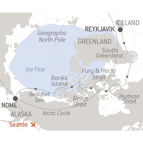 Map for The Northwest Passage aboard Brand New Hybrid-Electric Polar Ship