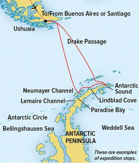 Map for Antarctica: The White Continent (NG Endurance)
