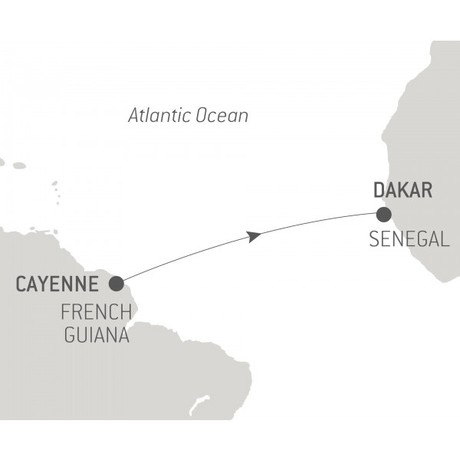 Map for Ocean Voyage: Cayenne - Dakar