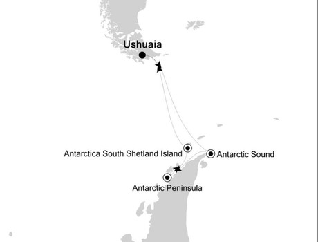 Map for 11 Days Antarctica Expedition Cruise
