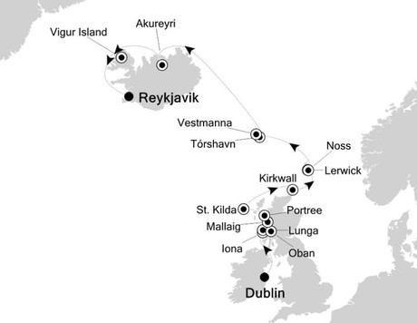 Map for Dublin to Reykjavik: Northern Europe & British Isles Expedition Cruise