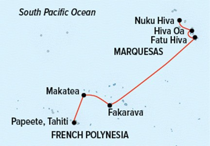 Map for Tahiti to the Marquesas: French Polynesian Discovery