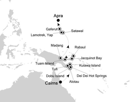 Map for Cairns to Apra: South Pacific Islands Expedition Cruise