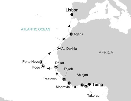 Map for Accra to Lisbon: Africa & Indian Ocean Expedition Cruise