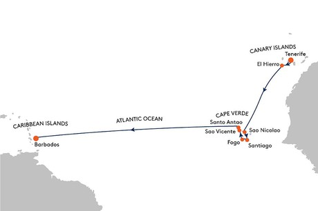Map for From Tenerife to Bridgetown Cruise