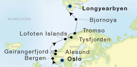 Map for From Oslo to Longyearbyen (Sea Dream Innovation)