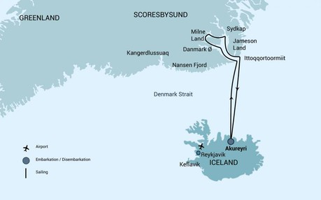 Map for East Greenland - Scoresby Sund, Aurora Borealis (Plancius)