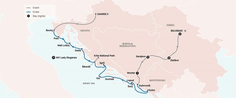 Map for Passage Through the Balkans with Pearls of the Adriatic Coast