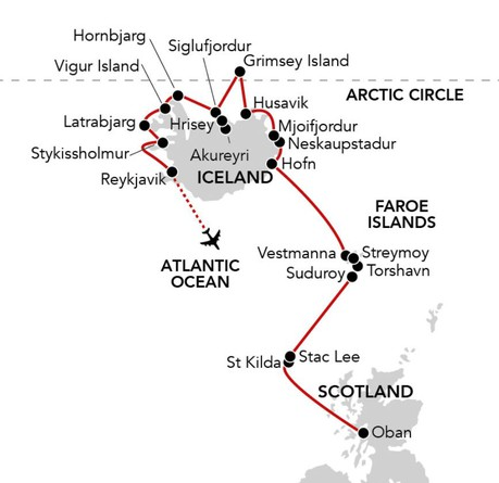 Map for Passage to Iceland (Caledonian Sky)