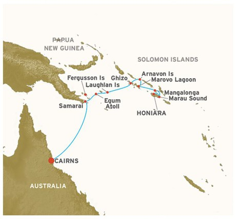 Map for A Passage to the Solomons - Cairns to Honiara (Coral Discoverer)