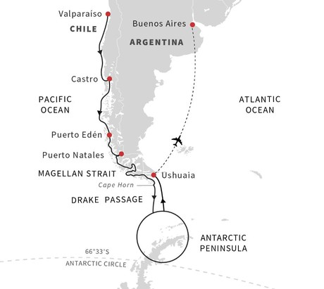 Map for Patagonia to Antarctica Expedition - Southbound