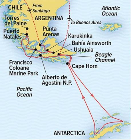 Map for Antarctica and Patagonia: Legendary Ice and Epic Fjords with National Geographic