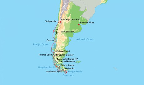 Map for Patagonian Fjords of Chile aboard Ocean Victory