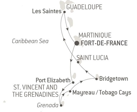 Map for Pearls of the Caribbean Ponant Luxury Cruise