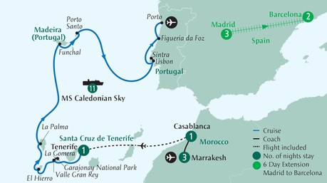 Map for Paradise Gardens of Morocco, the Canary Islands, Madeira & Portugal Cruise