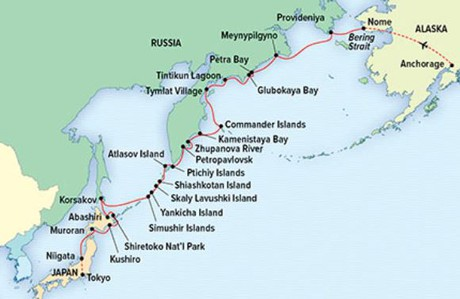 Map for Along the Ring of Fire: Kamchatka, Kuril Islands & Hokkaido
