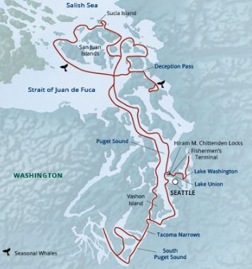 Map for Salish Sea & San Juan Islands Adventure (Wilderness Discoverer)