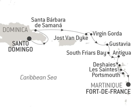 Map for Santo Domingo and Caribbean Treasures