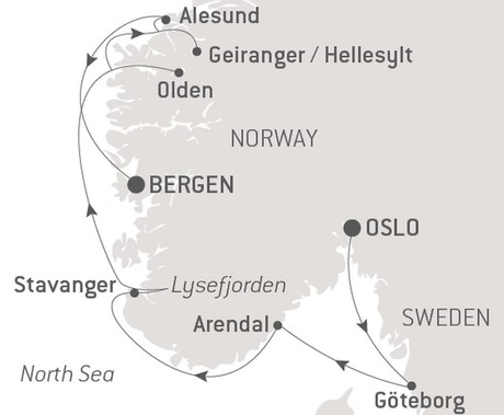 Map for Norwegian Fjords with Ponant