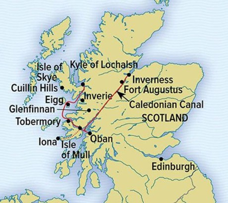 Map for Scotland's Highlands & Islands Cruise with National Geographic