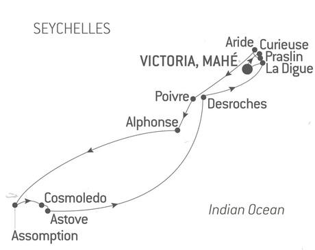 Map for Secret Seychelles Islands with Ponant