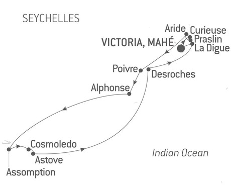 Map for Secret Seychelles Islands with Ponant aboard Le Bellot