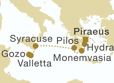 Map for Sicily & Greece (Star Flyer)
