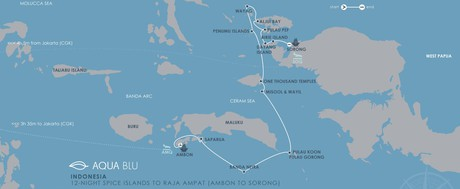 Map for Indonesia - Spice Islands to Raja Ampat Cruise