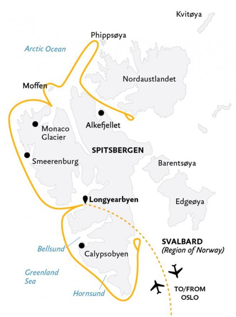 Map for Spitsbergen Explorer: Wildlife Capital of the Arctic