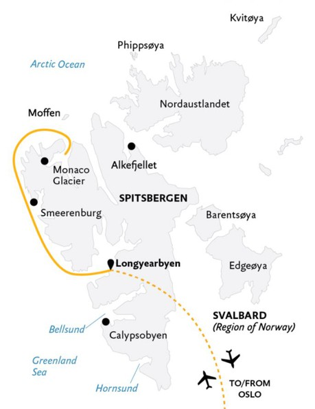 Map for Spitsbergen Highlights: Expedition in Brief (Ultramarine)