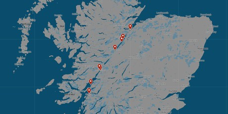 Map for Loch Ness and the Caledonian Canal Cruise