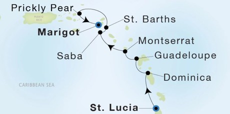 Map for Luxury Caribbean: Castries St. Lucia to Marigot