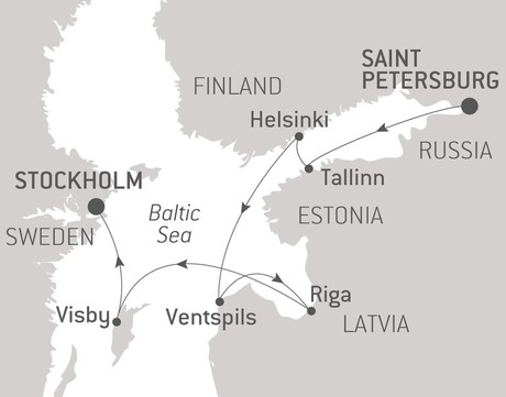 Map for Saint Petersburg and Baltic Pearls with Ponant